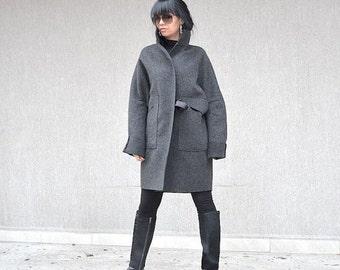 Fashion grey wool jacket, Italian high neck collar, party coat, wool coat, warm winter wool coat, women's oversized coat XS - XL