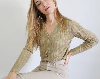 90s Gold Sparkly Long Sleeve Cardigan