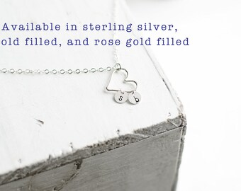 Dainty Heart Necklace   Family Initial Jewelry   Silver Gold Fill and Rose Gold Fill