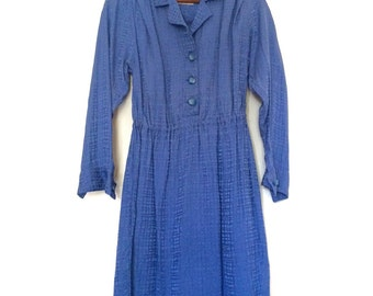 Vintage Blue Long Sleeve Button Up Dress | Medium 10-12