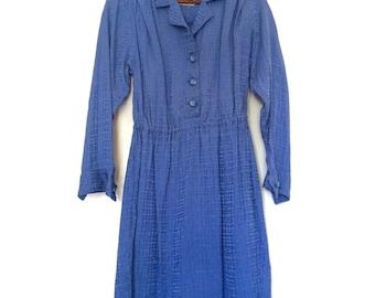 Vintage Blue Long Sleeve Button Up Dress   Medium 10-12