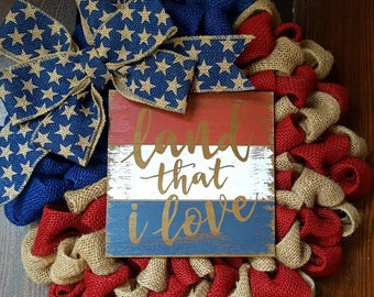 American Flag Wreath, Flag Wreath, Fourth of July Wreath, Burlap American Flag Wreath, American Flag, Land That I Love, Burlap American Flag