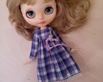 Purple/blue checked dress nr 2 for pullip blythe azone momoko obitsu dolls