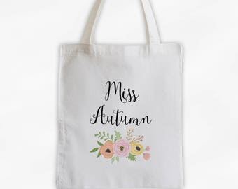 Miss Antique Flowers Cotton Canvas Personalized Tote Bag - Custom Gift for Bride to Be, Teacher - Pink Peach and Gold (3003)