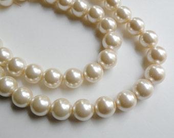 Cream glass pearl beads round 16mm full strand 7838GB