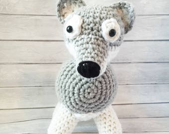 Handmade Crochet Wolf Amigurumi Plush Stuffed Animal Standing Wolf Plushie Toy Pet