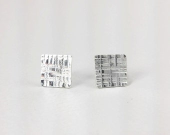 Square Earrings, Stud Earrings, Geometric Studs in  Sterling Silver 935 in a kraft gift box with an Extra Free Gift.
