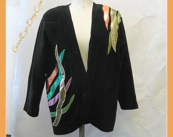 Vintage 1980s Oversize Applique Jacket  / size 8 10 12 14 medium / Black Cotton Velvet FLASHY Metallics / made Hong Kong