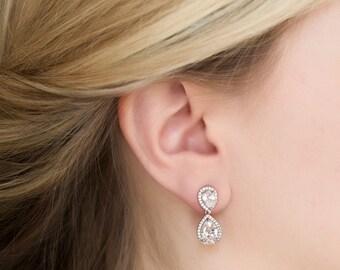 Wedding Jewelry Drop Earrings Silver Jewelry Bridal Sets Crystal Earrings Bridal Accessories Silver Earrings Bridesmaid Jewelry E340-S