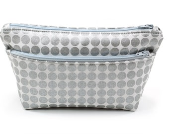 Small Silver Gray Pouch Cosmetic Travel Bag