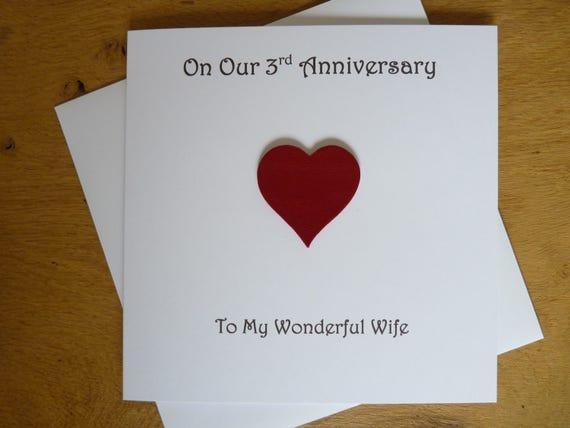 Rd anniversary card leather three years rd wedding