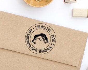 Return Address Stamp, Bass Fish Address Stamp, Round Address Stamp, Rustic Stamp, Housewarming Gift, Personalized Stamp, Stamp No. 12