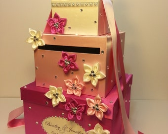 Wedding Card Box Hot pink and light pink Gift Card Box Money Box Holder--Customize your color