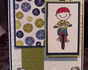 Boy On Bike Greeting Card