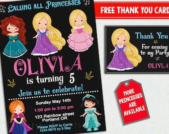 Princess invitation + Thank you Little princesses birthday invitation Girls birthday outfit Princess party invites Princess Party supplies