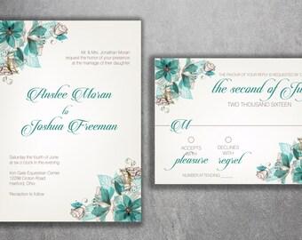 Floral Wedding Invitations, Wedding Invitation, Flowers Vintage Wedding Invitation, Modern Wedding Invitation, Elegant, Art Deco, Classic