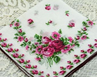 Gorgeous Vintage Hankie -- Light and Dark Pink Floral Hankie #C-42