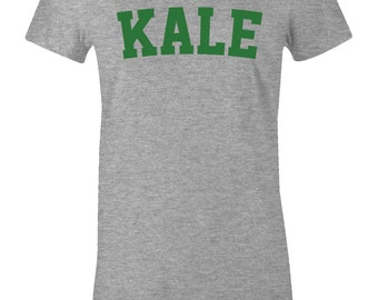Vegan Kale Shirt - Vegan T Shirt, Vegan, Vegetarian T Shirt, KALE T Shirt - American Apparel Women's Poly Cotton T-Shirt - Item 2742