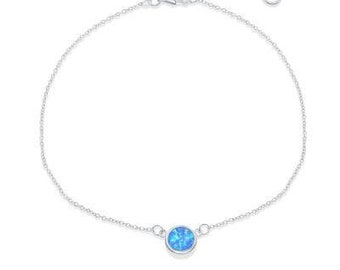 Disc Anklet, Blue Opal