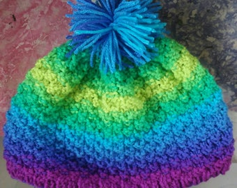 Seed stitch knitted hat