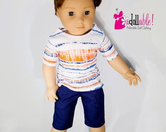 18 inch boy doll clothes, boy doll clothing made to fit like american girl doll clothes, orange/navy/white striped T-shirt and navy shorts