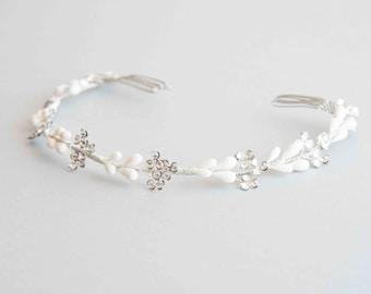 Bridal headpiece - Crown of orange blossoms and flowers Swarovski