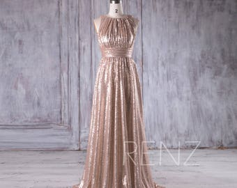 Tan Ruched Bodice Bridesmaid Dress, Jewel Neck Sequin Wedding Dress, A Line Prom Dress, Luxury Ball Gown Floor Length (HQ353)