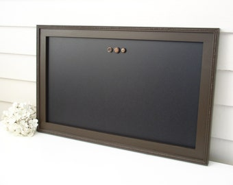Elegant Magnetic Chalkboard - Bulletin Board Magnet Board with Handmade Hardwood Frame Office Organizer Wet Erase in Espresso Brown 15 x 22""