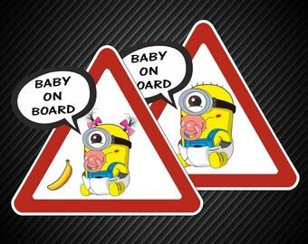 Baby on Board Minions, Despicable Me, Cartoon, Child Window Bumper Car Truck sticker