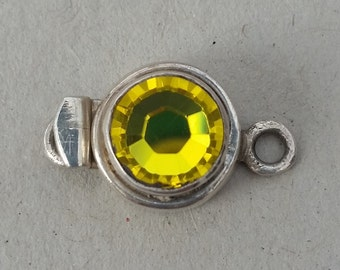 Swarovski Crystal Clasp, silver clasp, Citrine, yellow crystal, sterling silver clasp, uk supplier