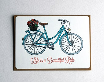 Bicycle Notecards in Teal, Coral, Brown and Gray - Set of 3, 6 or 10 Flat Notecards and Kraft Envelopes