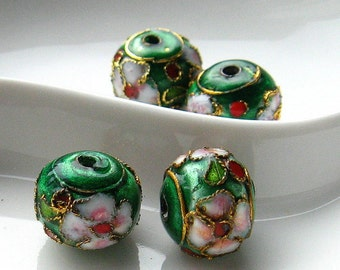 Four (4) Round Green Cloisonne Floral Beads