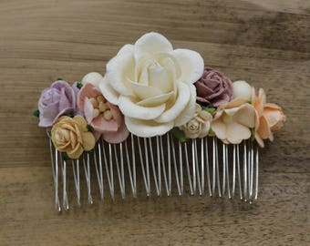 White, Pink, Purple Paper flower Hair comb, Bridal hair comb, Bridal flower headpiece, Wedding hair comb