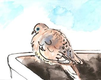 Original drawing -- original gouache painting -- Dove in Window Box -- ink drawing
