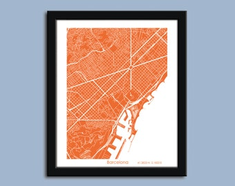 Barcelona map - Zoom View, Barcelona  city art map, Barcelona  wall art poster, Barcelona  Spain decorative map