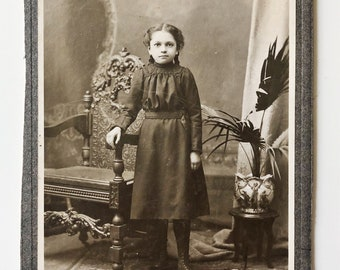 Original Antique Matted Photograph | The Girl with the Wildcat Rug
