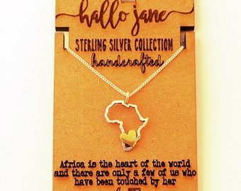 I (Heart) AFRICA necklace - Sterling Silver