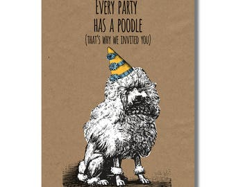 Black poodle card etsy party poodle card poodle birthday card funny dog greeting funny poodle card bookmarktalkfo Gallery