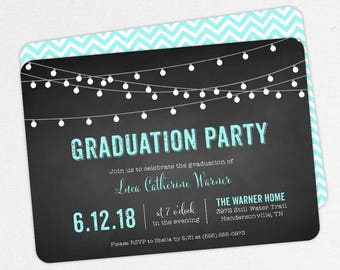 Graduation Invitation, Graduation Announcement, Printable Invitation, Invitation PDF, DIY, Printed, String Lights, Chalkboard, Blue, Luca