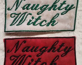 Naughty Witch Patch, green on sparkling cream background, black on red background