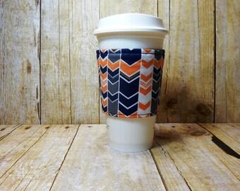 Fabric Coffee Cozy / Blue and Gold Coffee Cozy / Coffee Cozy / Tea Cozy