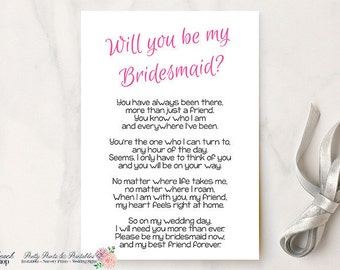 Will You Be My Bridesmaid Printable Poem - Bridesmaid Printable Poem - DIY Bridesmaid Gift Idea - Bridesmaid Card