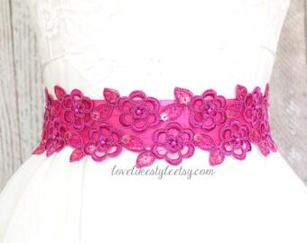 Hot Pink Beaded Lace Sash, Bridal Hot Pink Sash, Bridesmaid Pink Sash, Flower Girl Sash / SH-15