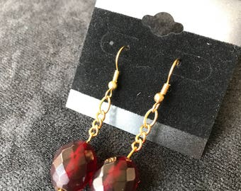 Red with Gold Chain Earrings