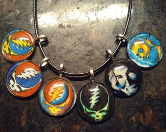 "Custom Made ""Grateful Dead"" SYF & Jerry Pendant Necklaces + a Free GD Button"
