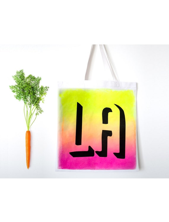LA hand-painted Tote Bag with imprinted design, canvas grocery bag