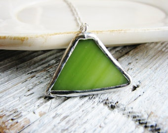 Soldered Green Glass Pendant Necklace, Stained Glass Necklace, Glass Necklace, Minimalist Jewelry, Geometric Necklace