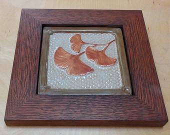 Framed Gingko tile, Arts and Crafts style for decor. Craftsman Wedding Gift