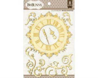 Bo Bunny Clockwork Wood Shapes - Clock Shapes - Decorative Wood Shapes - Clock Designs - Wood Embellishments - Clock Shape - 4-067