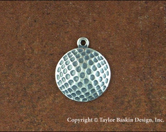 Golf Ball Jewelry Scrapbooking Charm Finding in Antique Silver Plate (item 1808 AS w/Loop) - 6 Pieces